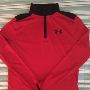 Boys Under Armour Red/Black 1/4 zip pullover